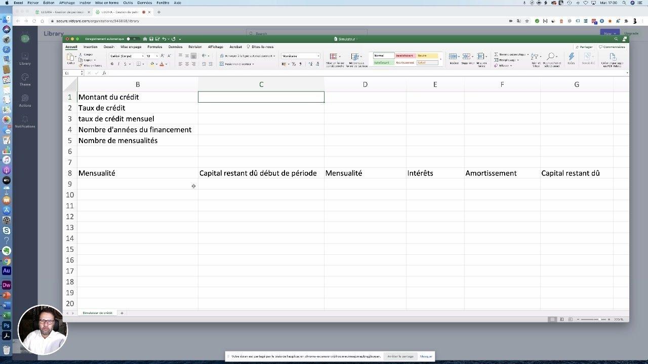 Comment Etablir Un Tableau D Amortissement De Credit Immobilier Sous Excel Tutoriel Youtube