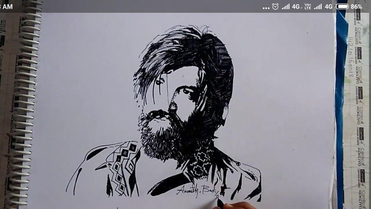 Drawing Yash Kgf Youtube