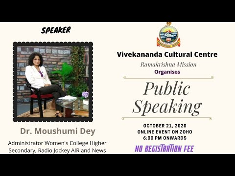 Workshop on Public Speaking | 21 October 2020 | Dr Moushumi Dey