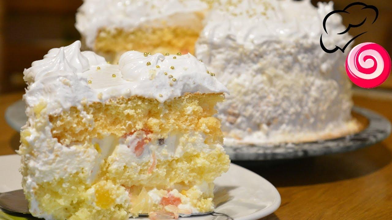 Бисквитный торт с фруктами - YouTube