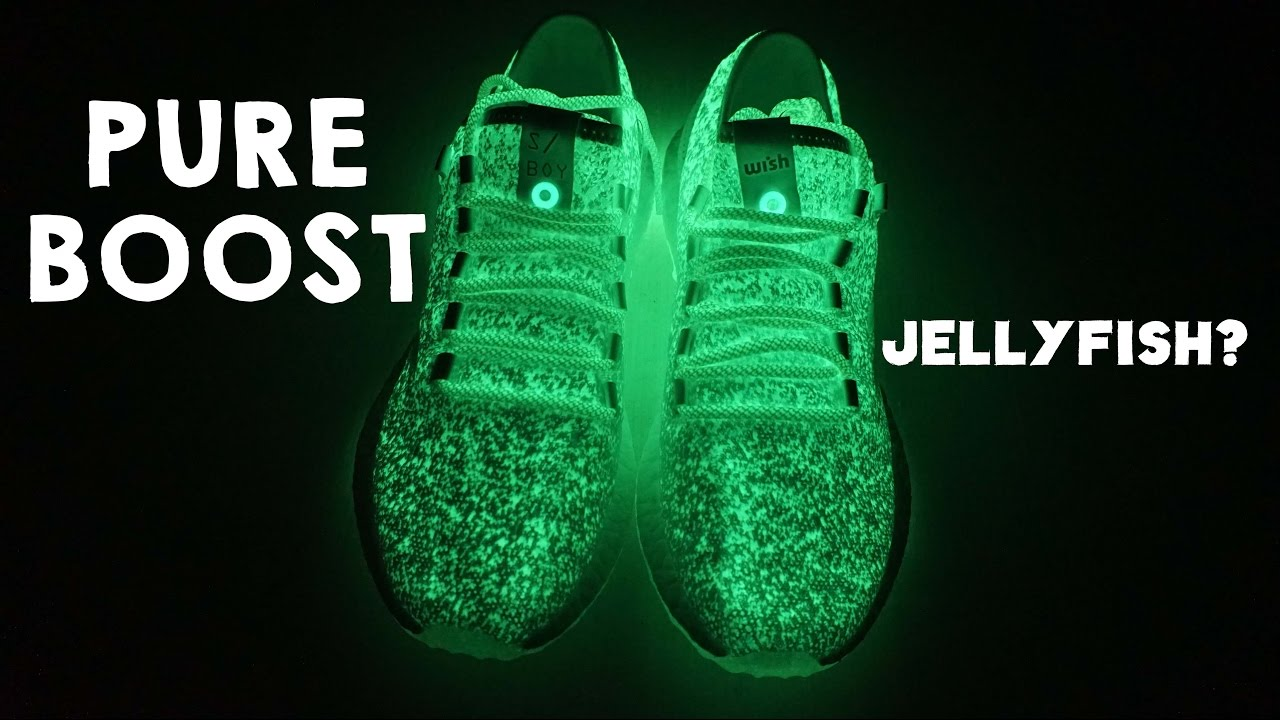 Adidas Pureboost Sneakerboy X Wish    Glowing Jellyfish boost - YouTube d7c70319fee8