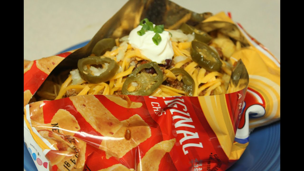 Chili Frito Pie Aka Walking Tacos And Taco In A Bag
