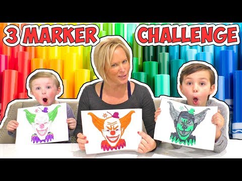 3 Marker Challenge Halloween Edition with Chucky, Spooky Clown, and Billy the Puppet! | DavidsTV