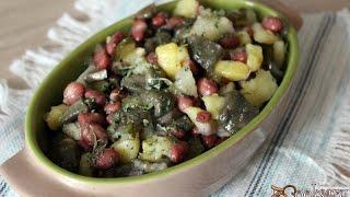 Постный салат из картофеля с фасолью и маринованными  маслятами