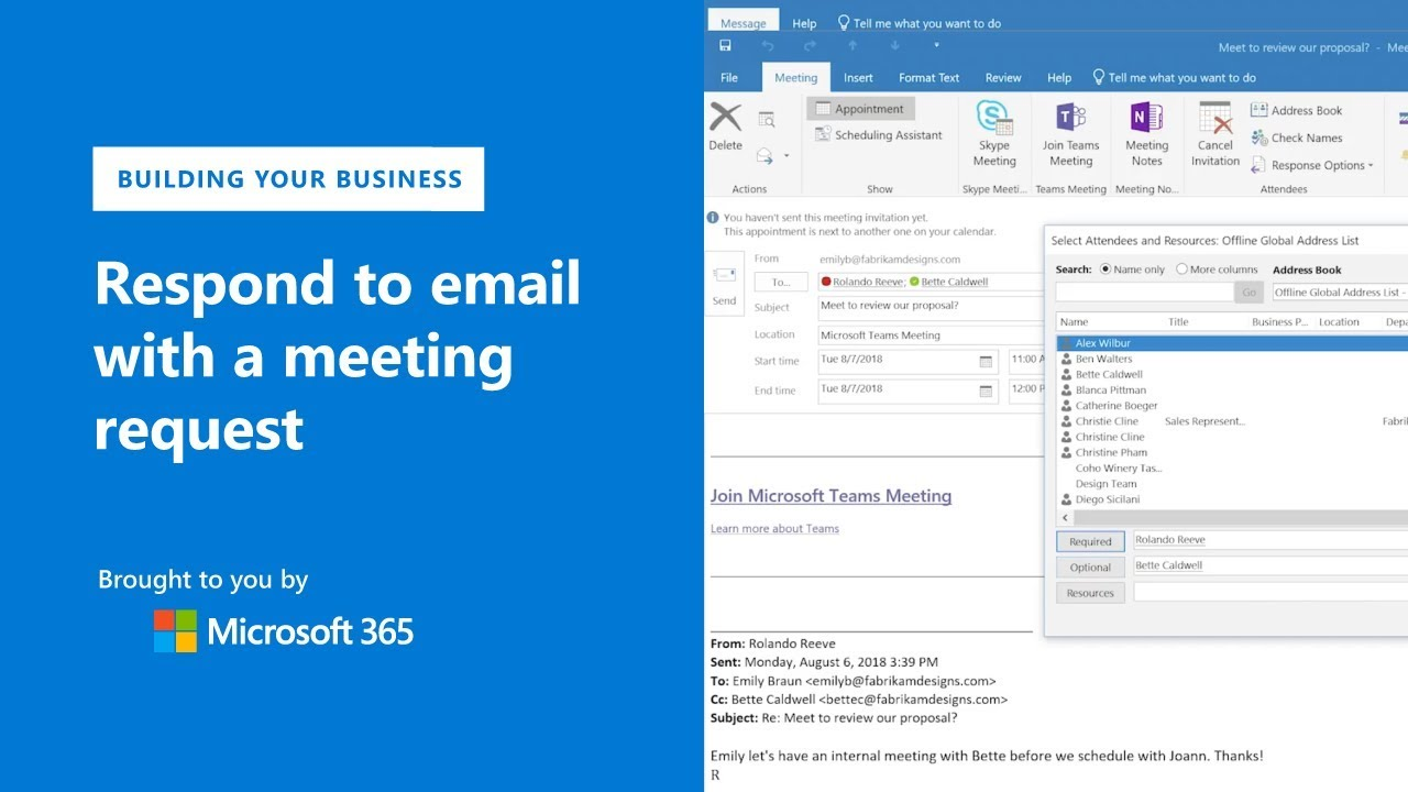 Respond to emails with meeting requests in Microsoft Outlook