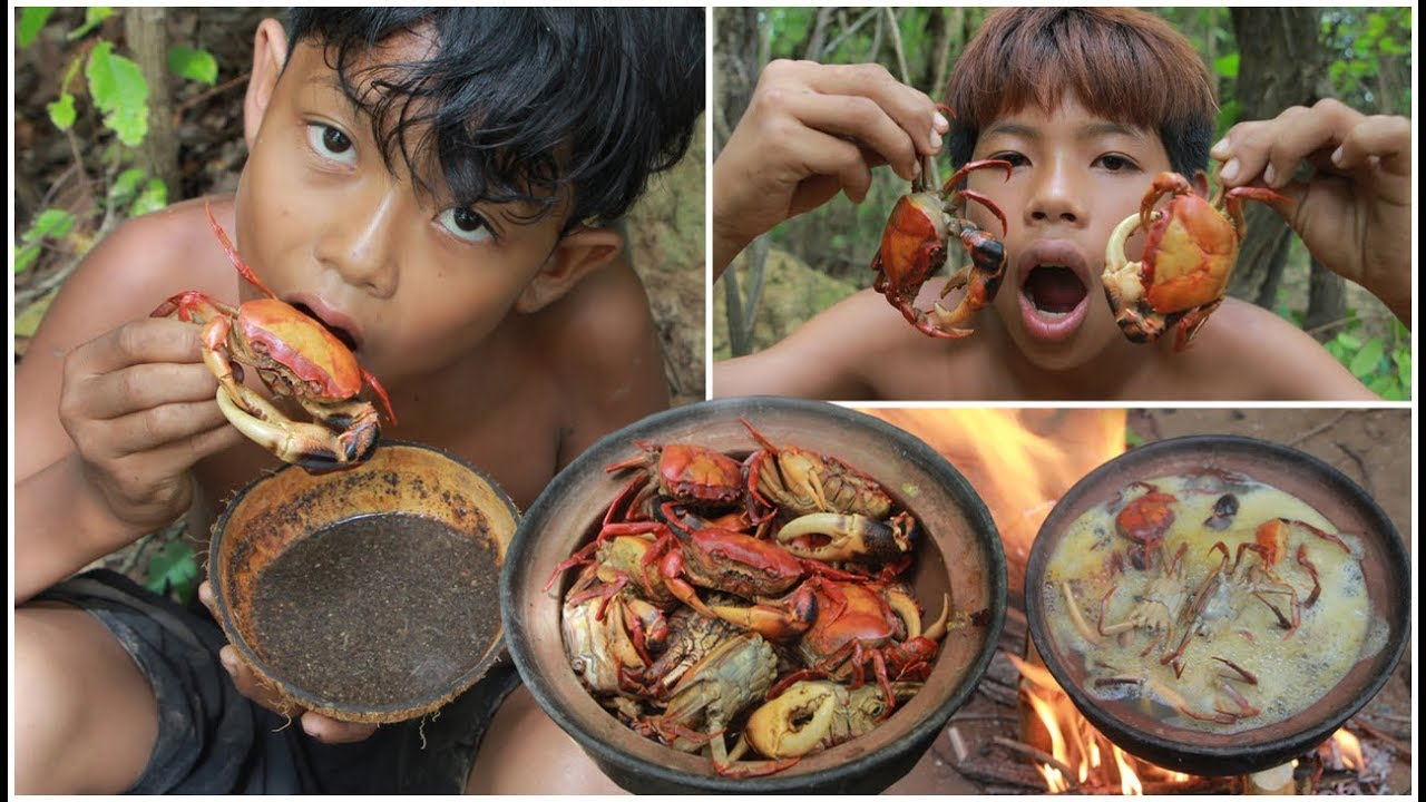 Primitive Technology - Catch and cooking crab - eating delicious