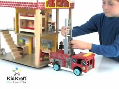 Boys Wooden Toy Fire Station Set Kidkraft 63036