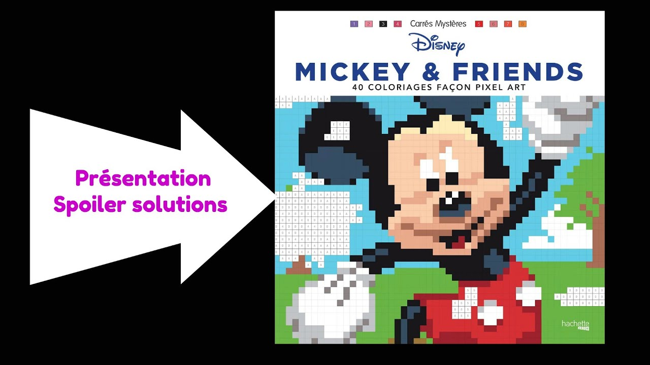 """Mickey & friends """" CARRES MYSTERES """" Pixel Art coloriage adulte"""