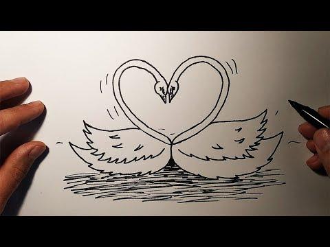Как красиво нарисовать лебедя