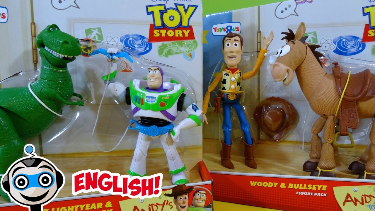 Andy s Toys from Toy Story with Woody and Bullseye and Buzz Lightyear and  Rex 9df54575ebb