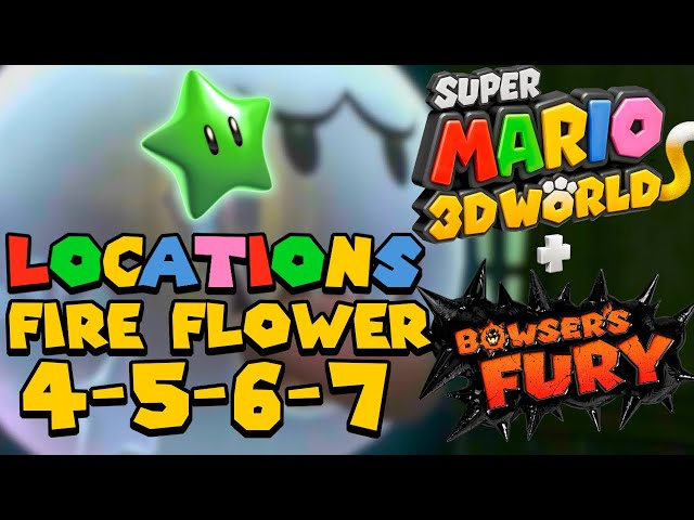 All Green Star Locations (World Fire Flower 4 5 6 7) - Super Mario 3D World (Switch)