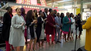 The Kingdom Choir perform at St Pancras, London for the launch of Lancome's 2019 Christmas Tree