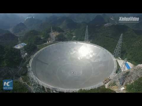 Aerial view of world's largest radio telescope, in Guizhou, China