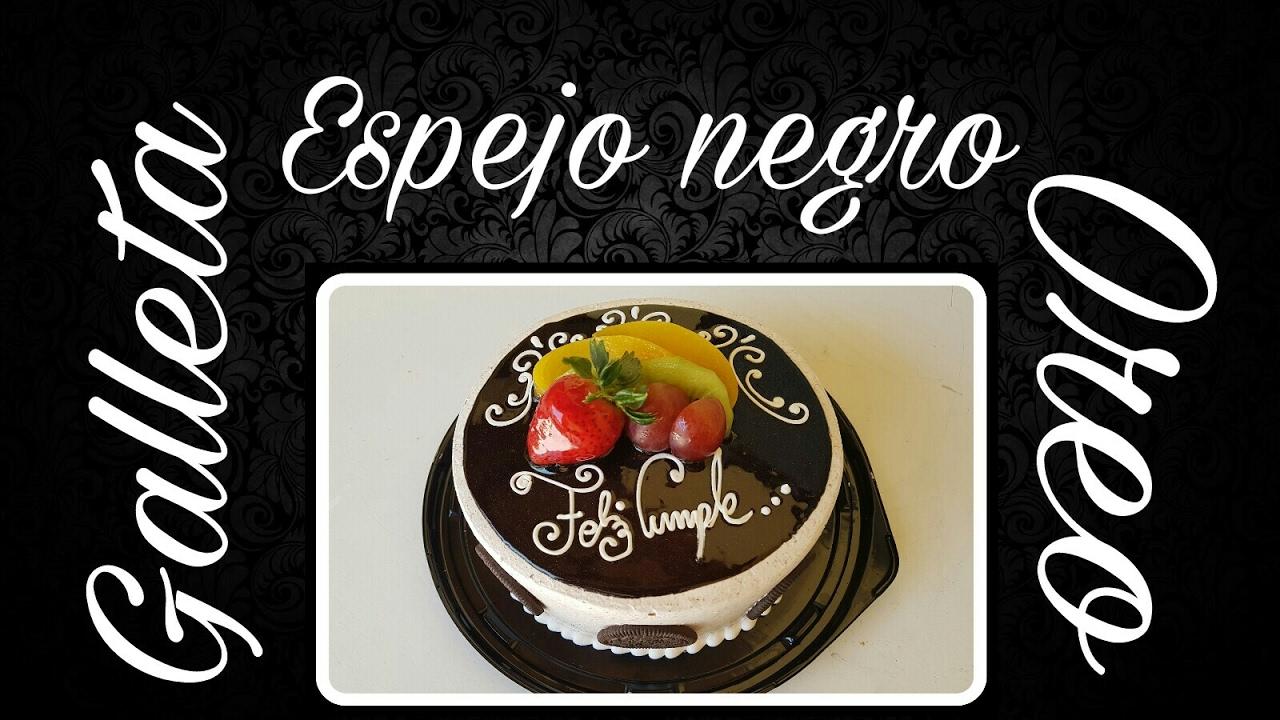 Pastel Con Espejo Negro Y Galleta Oreo Decorado Super Facíl