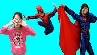 Masal & Öykü and Cute Spiderman, Supergirl playing Hide and Seek