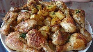 Куриная голень с картошкой в духовке