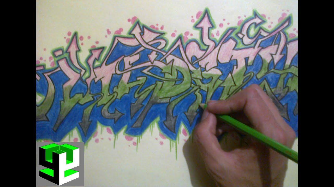 dibujando graffiti wildstyle en papel / drawing graffiti ... Y Graffiti Letters