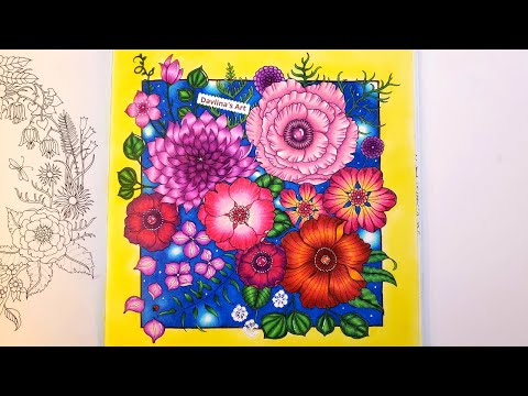 Coloring FLOWERS🌸 Leaves and Background - Part 2/2 | WORLD OF FLOWERS by Johanna Basford