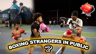 BOXING STRANGERS IN PUBLIC Pt. 2 | I GOT ARRESTED !!