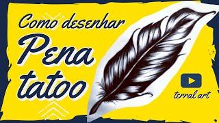COMO DESENHAR PENA REALISTA / how to draw feather tattoo