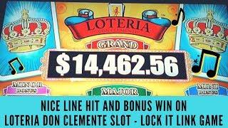 NICE LINE HIT & BONUS WIN ON LOTERIA DON CLEMENTE SLOT - LOCK IT LINK GAME - SunFlower Slots