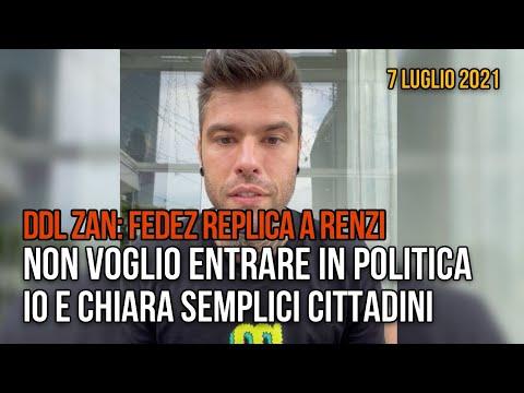 Fedez replica a Renzi: non voglio entrare in politica, io e Chiara semplici cittadini