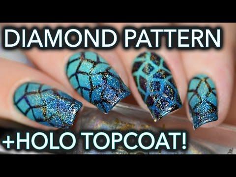 Turquoise diamond gradients - and holo top coat!