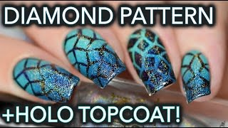 Turquoise diamond gradients - and holo top coat!