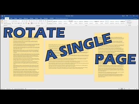 How to make page landscape in word