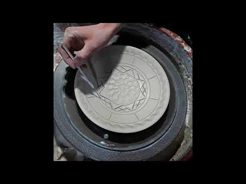 Wheel Throwing and Decorating A Plate Timelapse