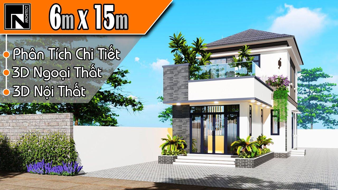 TNA130 – Nhà gác lửng 3 phòng ngủ hiện đại 6x15m với 3 phòng ngủ   Kiến trúc TN