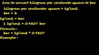 how to convert kg/cm2 to bar - pressure converter