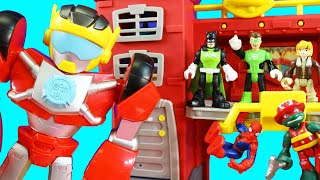 Hide And Seek Rescue With Imaginext Green Lantern Batman + Playskool Heroes Rescue Bot Mega Mighties