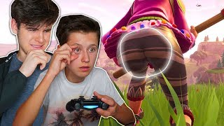 CAUGHT MY LITTLE BROTHER STARING USING EYE TRACKER IN FORTNITE...