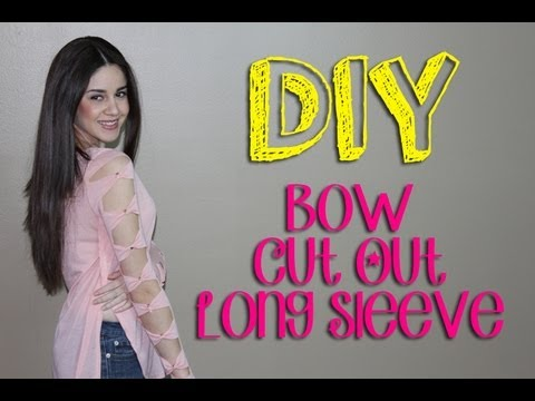 DIY Bow Cut Out Long Sleeve with Studs || Lucykiins