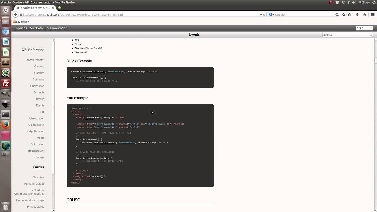Handling Apache Cordova Events With Ionic Framework