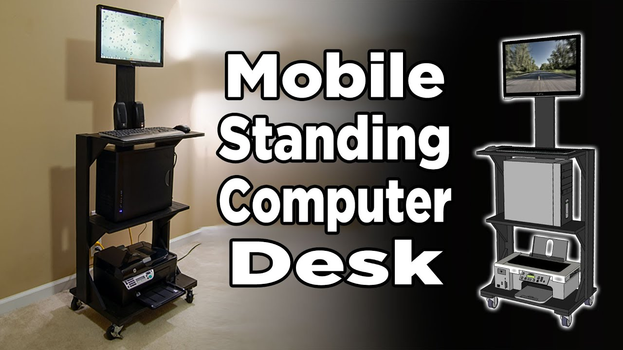 Mobile stand up computer desk 186
