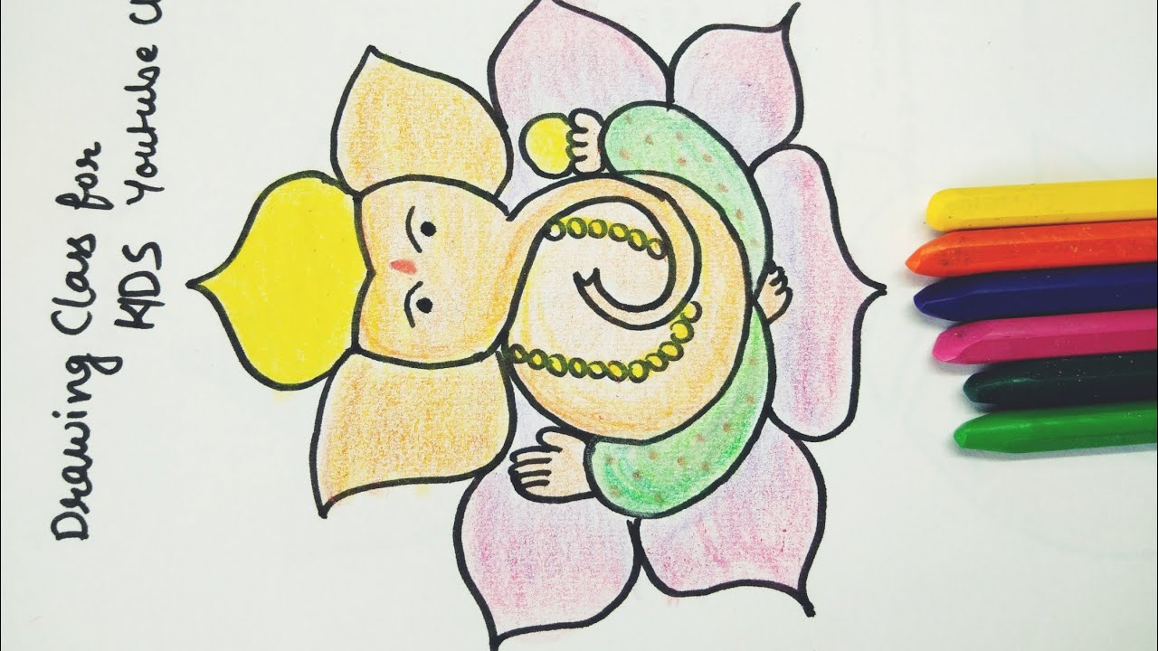 How To Draw And Color Ganpati Simple Ganpati Drawing Ganesha Drawing For Kids Youtube