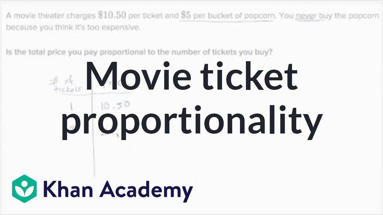 Proportional Relationships Movie Tickets Video Khan Academy