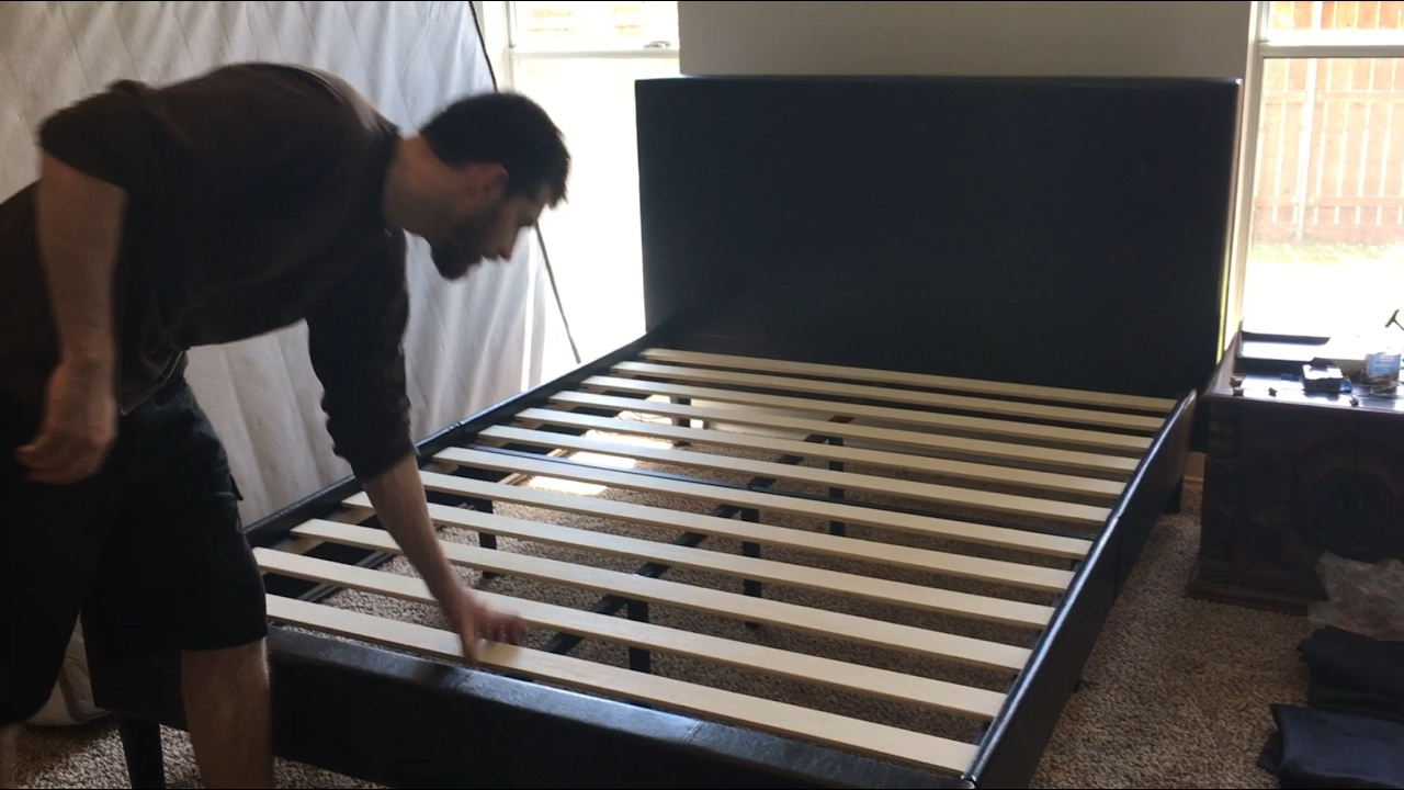 Zinus Faux Leather Bed Review And Basic Assembly Youtube