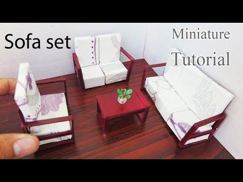 Sofa set    DIY  Miniature Dollhouse furniture