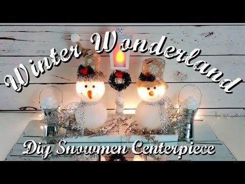 DIY DOLLAR TREE WINTER WONDERLAND SNOWMEN CENTERPIECE // DIY LIGHTED LAMPPOST