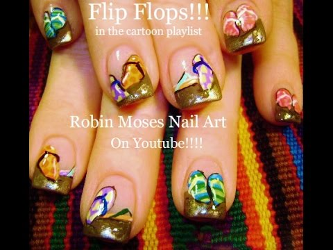 nail art tutorial  summer nails  diy easy flip flop nail
