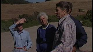 President Reagan meeting with George Bush at Rancho Del Cielo on August 14, 1985