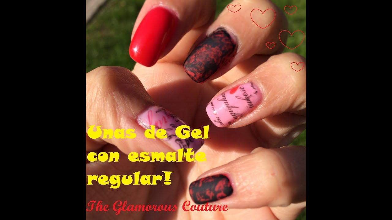 Uñas de Gel SensatioNail con Esmalte regular y Tatuajes de uñas ...