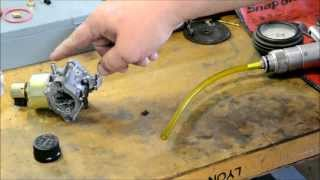 BRIGGS AND STRATTON CARBURETOR REPAIR / GAS SHOOTS OUT OF MUFFLER / CRANKCASE FULL OF GAS