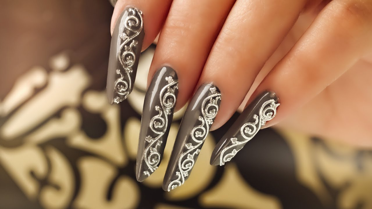 Edge Nails with Decal Nail Art - YouTube
