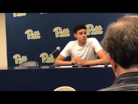 Pitt guard Cameron Johnson talks after loss to Virginia Tech