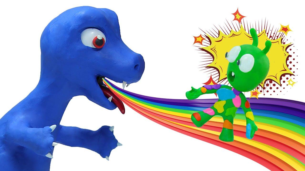 Pea Pea Plays Rainbow Colors Slide | Pea Pea Stop Motion Cartoon