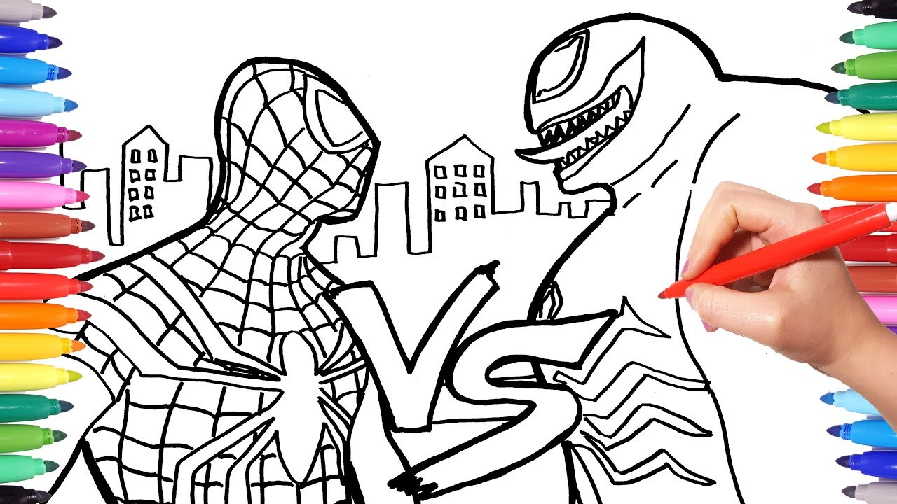 Spiderman Vs Venom Coloring Pages How To Draw Spiderman And Venom Superheroes Coloring Book Youtube
